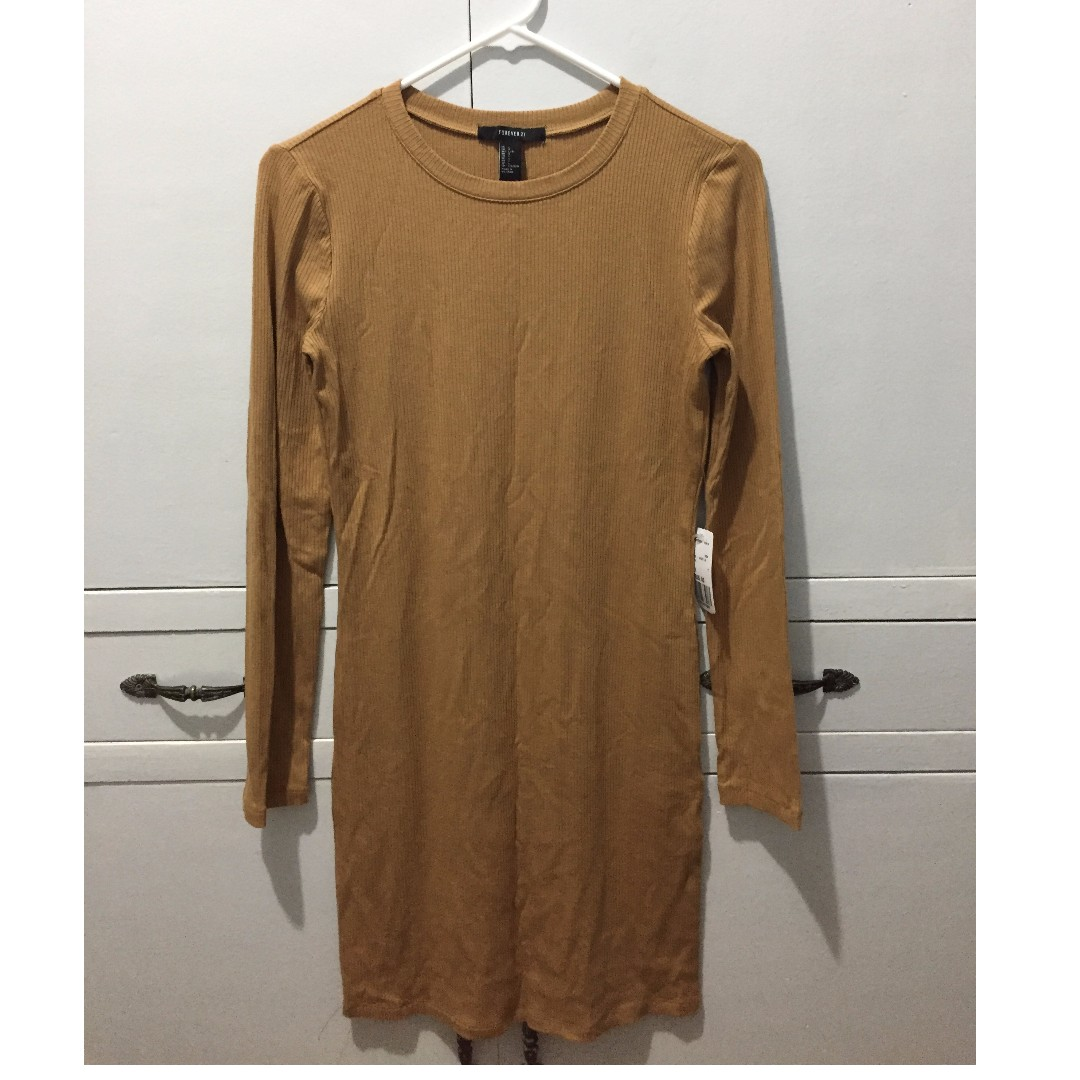 Forever21 Camel Ribbed Dress