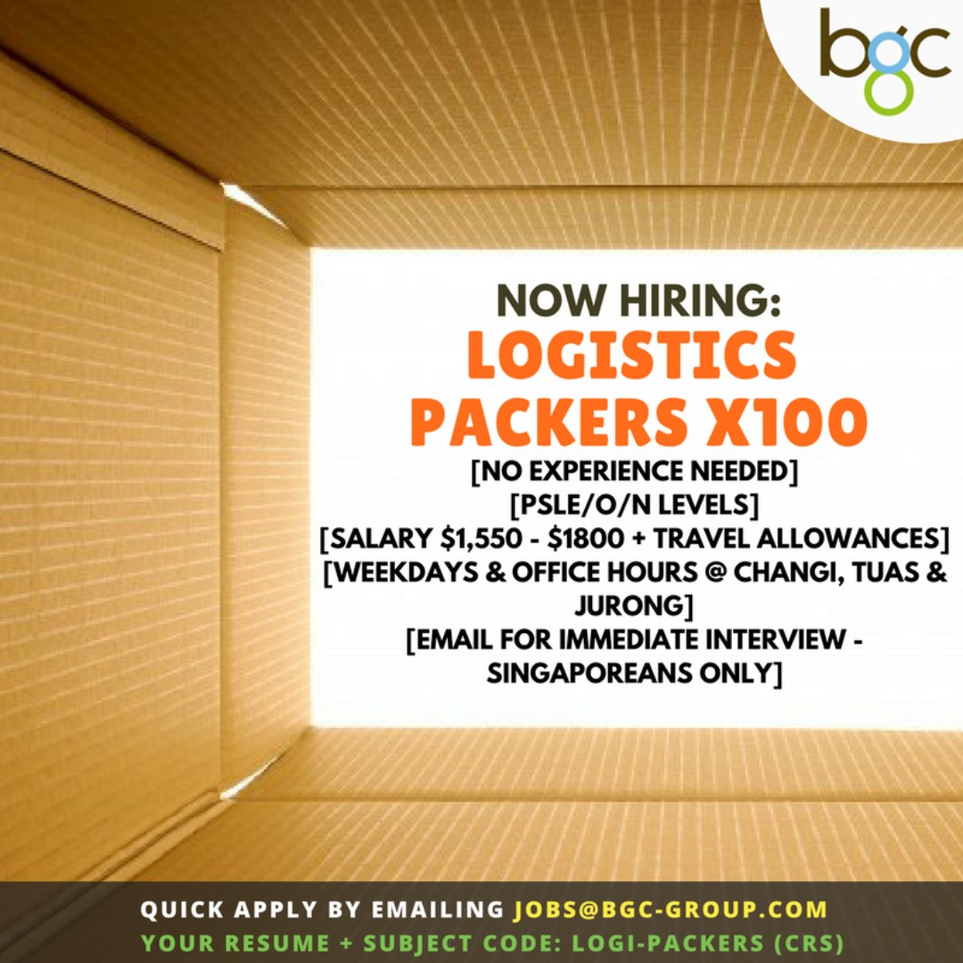 Full-Time Logistics Packers (SGD$1550-1800)