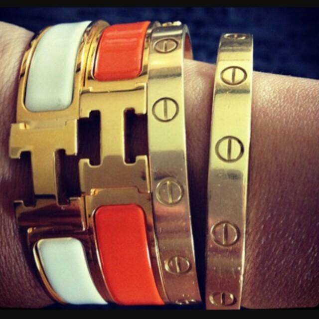 Hermes H leather Bangles / Bracelet