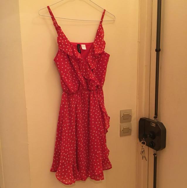 H&M 荷葉邊水玉點點雪紡洋裝
