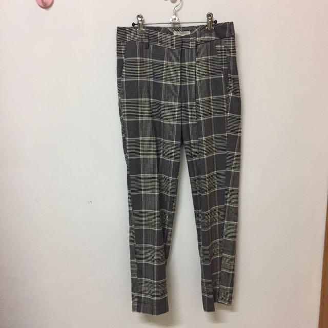 H&M 灰色 格紋褲
