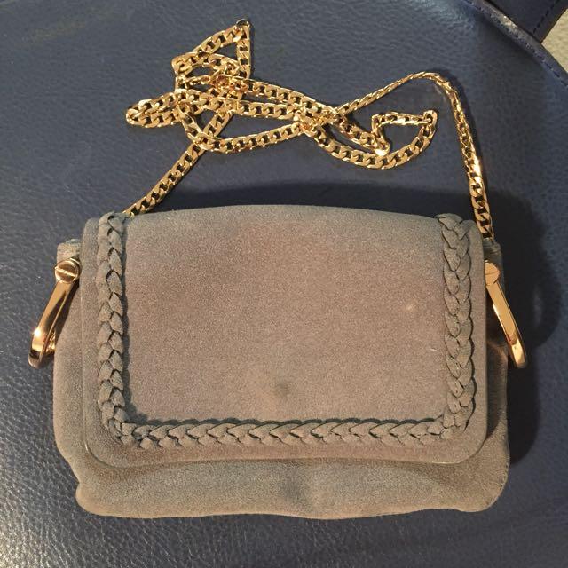 H&M Grey Suede Crossbody Bag