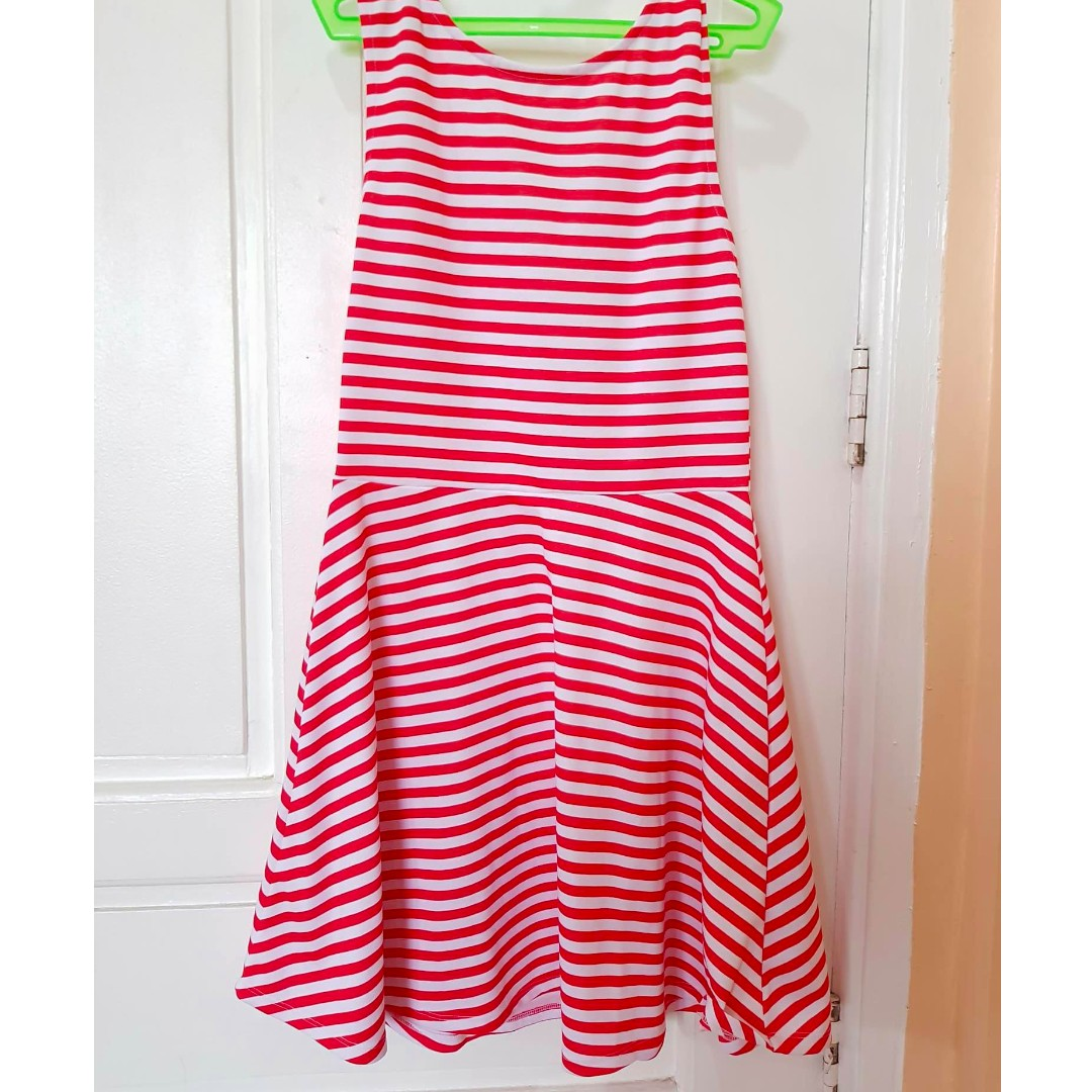 H&M Red and white striped dress, Preloved Women\'s Fashion, Clothes ...