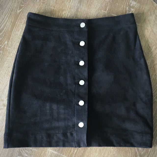 H&M Suede Black Skirt Brand New Size 38