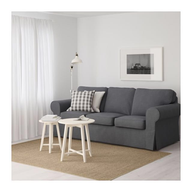 Ikea Ektorp Three Seat Sofa With Foot Stool And Additional Cover