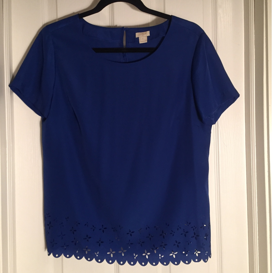 JCrew blue top with cut out detail