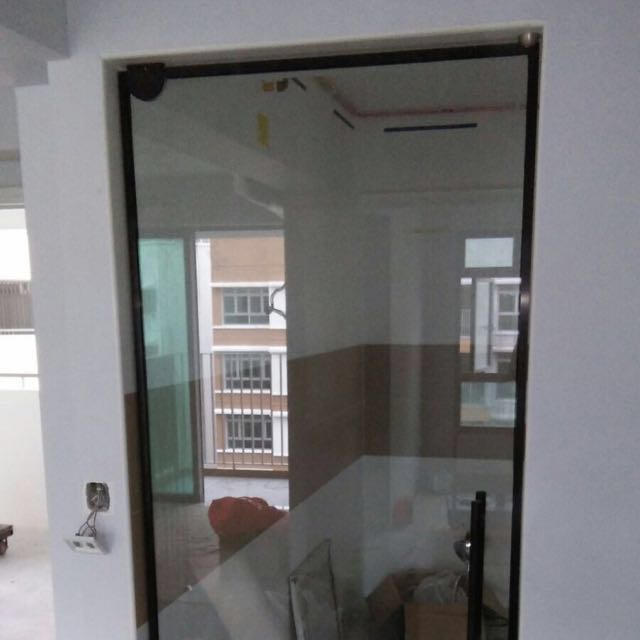 Kitchen Entrance Tempered Glass Door In Black Frame