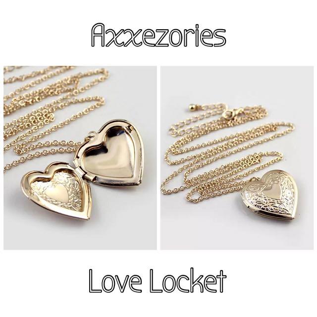 Love locket long necklace