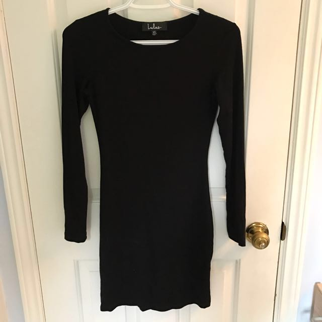 Lulu's Black Long Sleeve Bodycon Dress