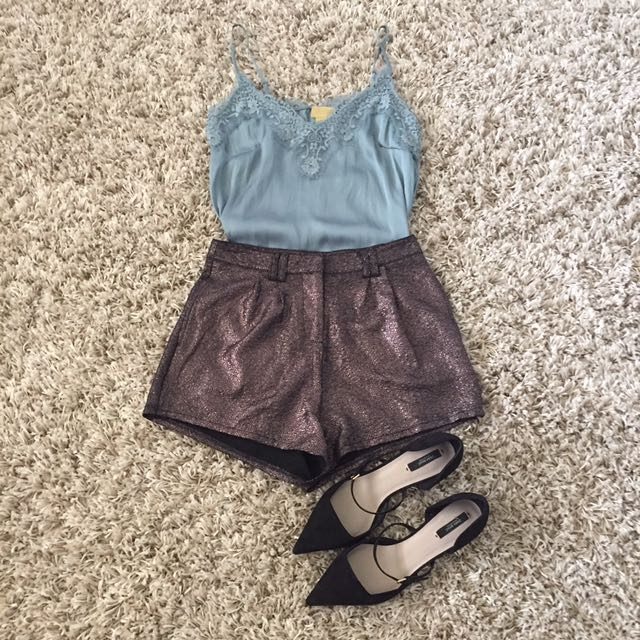Metallic high waisted shorts size 10