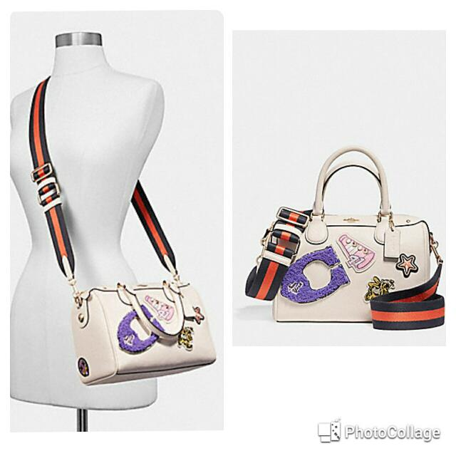 955071acca ... new zealand mini bennett satchel in crossgrain leather with varsity  patches and webbed strap coach f20915