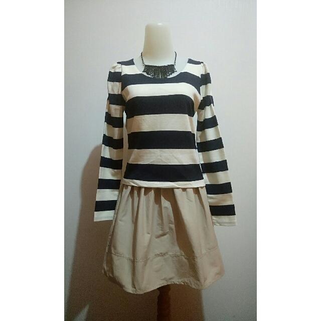 Mini Dress - Navy White Stripes