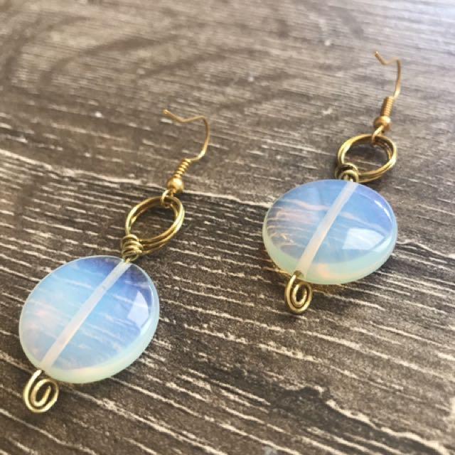 Moonstone Wire Earrings