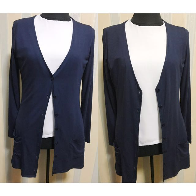 Navy Blue Cotton Cardigan