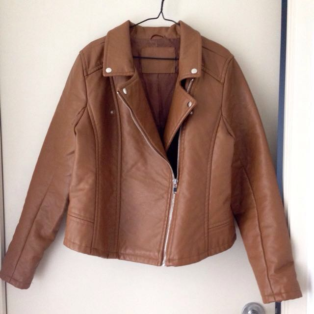 New Brown Faux Leather Jacket
