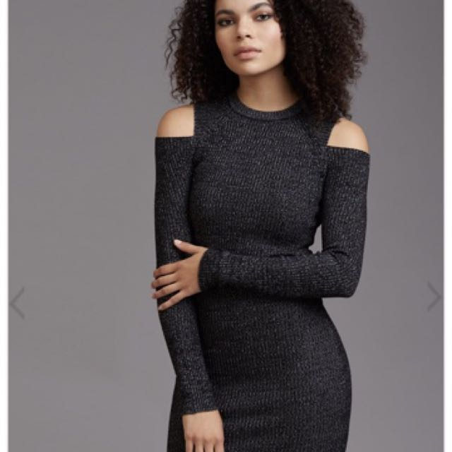 New Dynamite Ribbed Cold Shoulder Dress