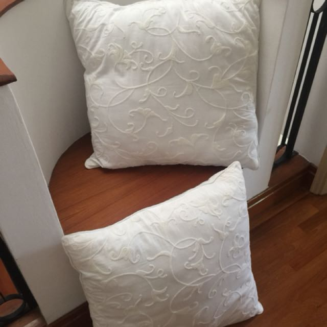 Pair Of White Nicole Miller Eurosham Throw Pillows Furniture Home Impressive Nicole Miller Decorative Pillows