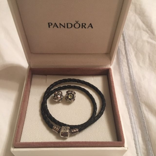 Pandora Black Braided Double-Leather Charm Bracelet with 2 Charms!!!
