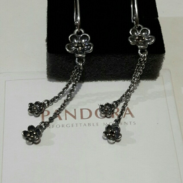 PANDORA Silver, 14ct Gold & Black Spinel Flower Drop Earrings