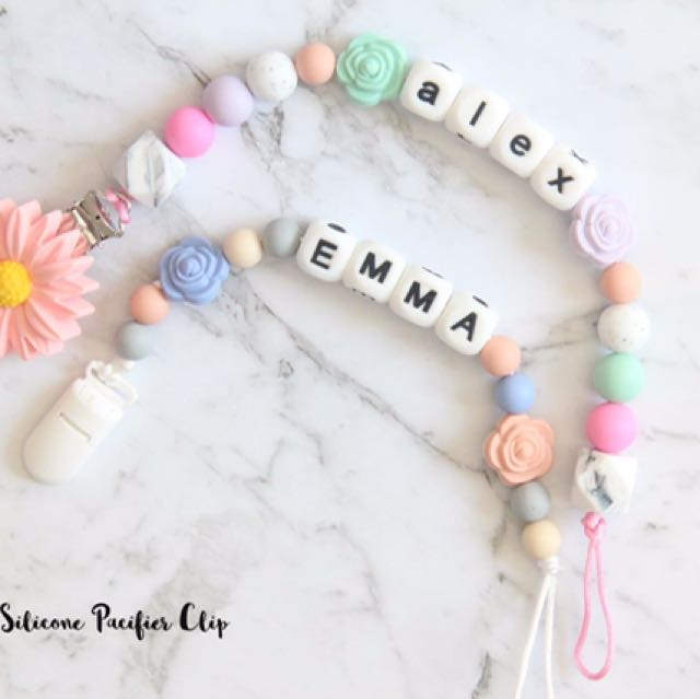Personalised Silicone Baby Teething Pacifier clip