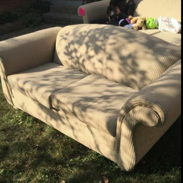 Pin Stripped - Cream Coloured Sofa Set