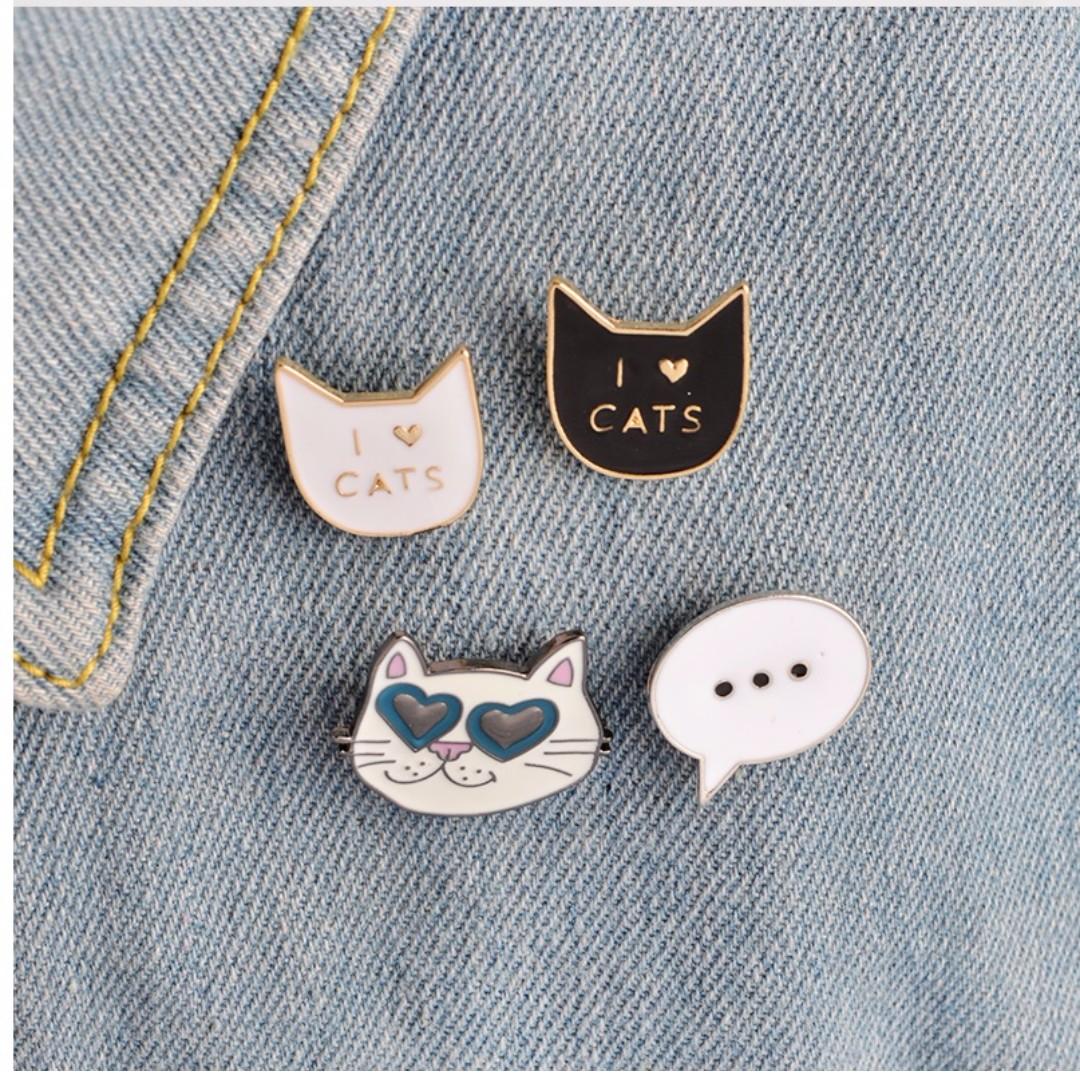 pin/brooch i love black cat, i love white cat, cat with sunglasses, baloon text (dijual satuan)