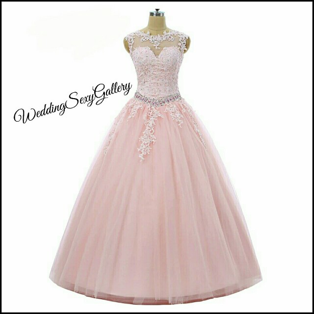 #9🌹◾PRE-ORDER◾🌹Pink Quinceanera Dresses 2017 Ball Gown Cap Sleeves Tulle Beaded Crystals Appliques Lace Cheap Sweet 16 Dresses