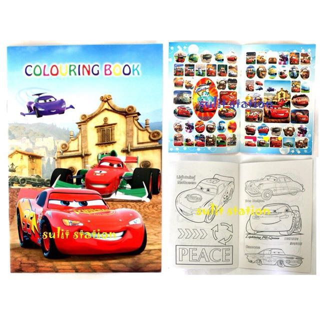 PIXAR CARS LIGHTNING McQUEEN STICKER COLORING BOOK PARTY FAVOR GIVEAWAYS,  Design & Craft, Craft Supplies & Tools On Carousell