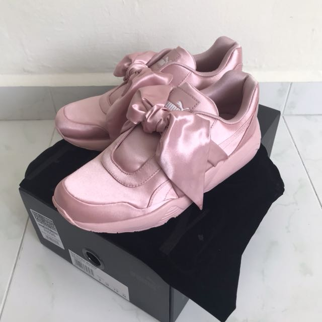 sports shoes 82e29 3b612 Puma Pink Satin Fenty Bow Sneakers