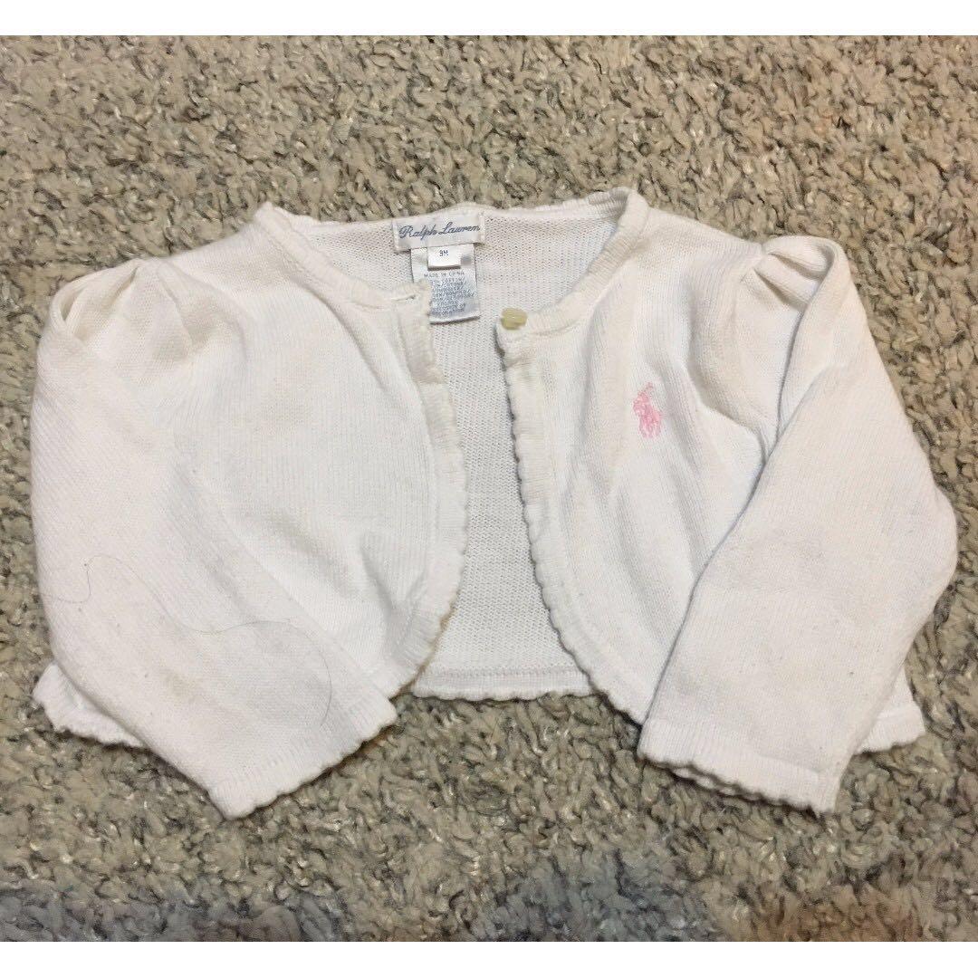 Ralph Lauren White Cropped Cardigan - 9 months - Girls