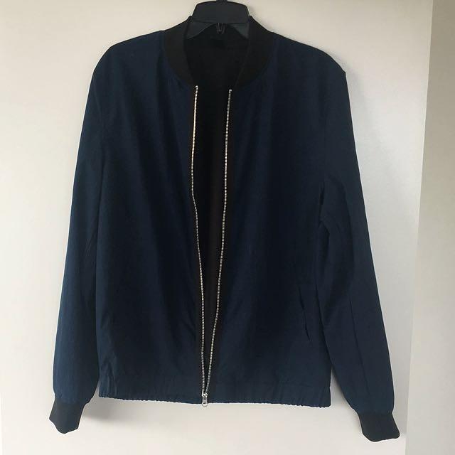 RIVER ISLAND Men Navy Bleu and Black Jacket Size M