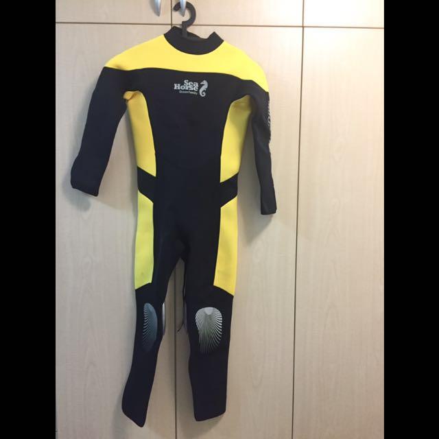 Sea Horse 3MM 潛水衣、防寒衣、衝浪衣、浮潛衣-黃色