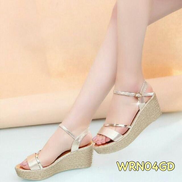 Sepatu Wanita Murah Wedges Gold WRN04GD