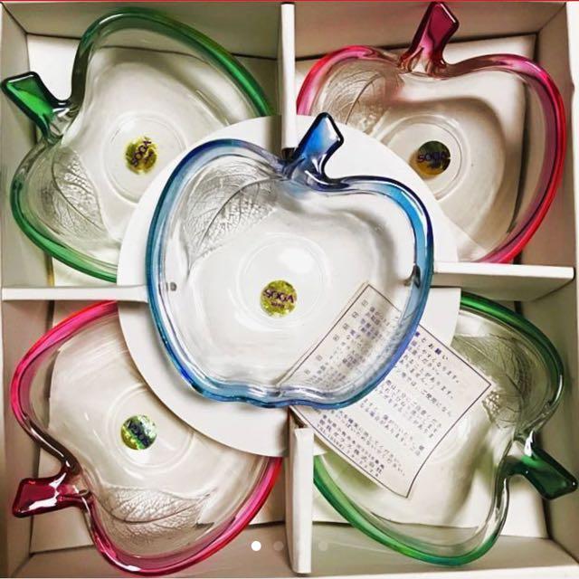 (全新)日本製SOGA強化玻璃蘋果三色小盤 5入組