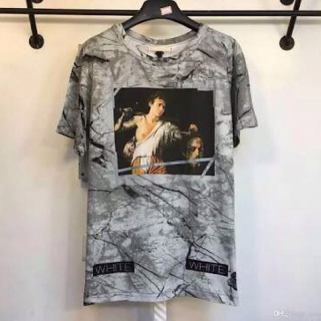 T shirt off white marble grey