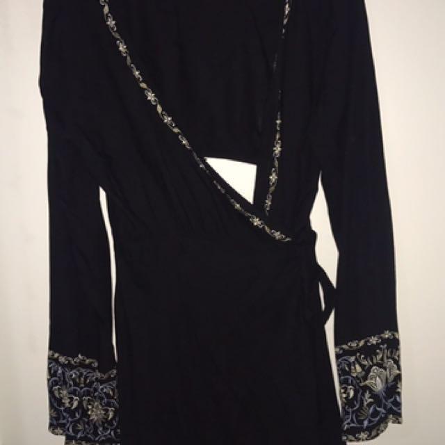Tigerlily black wrap dress with flower stitching