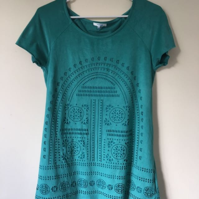 Turquoise dress suede size small Aztec print
