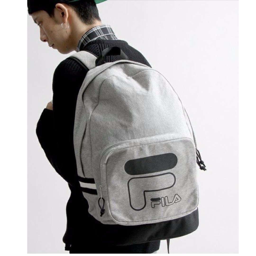 【吉米.tw】全新正品 FILA LOGO 韓系 歐美 素面 百搭 經典 包包 配件 灰色後背包 BPQ-1107-GY