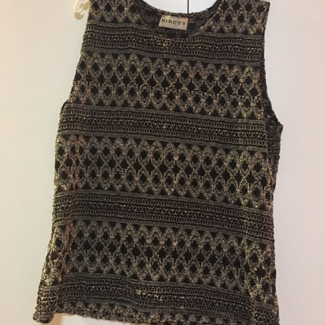 Vintage black and cream patterned top