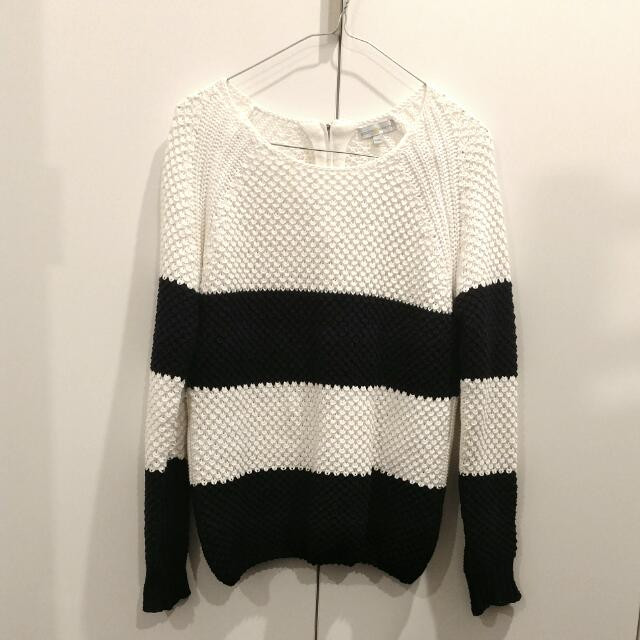 White And Navy Striped Knit Sweater