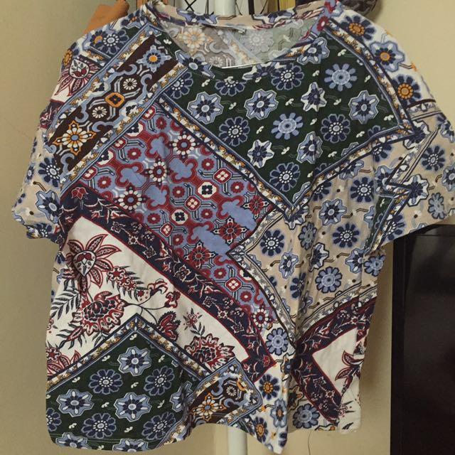 Zara TRF Tshirt Motif Bunga