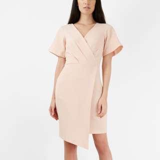 Closet London Pale Pink Cross Over Short Sleeve Wrap Dress