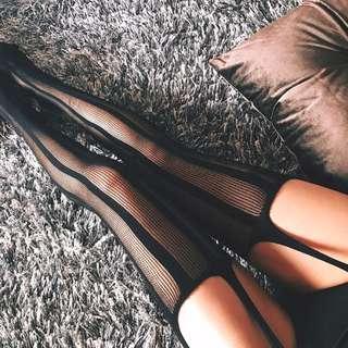 ALICE SELECT法國製  極致獵豔 性感小惡魔 條紋 暗紋 美腿網襪