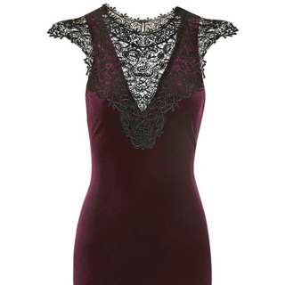 Topshop red velvet lace bib dress