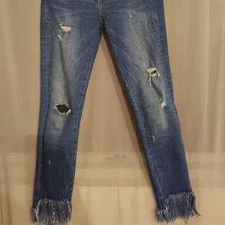 Zara fringe jeans