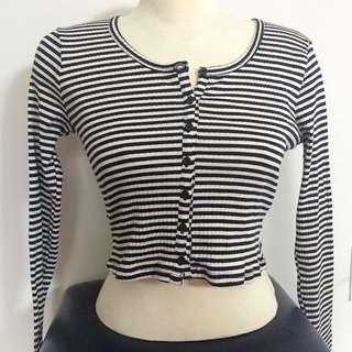H&M Striped Buttoned Crop Top