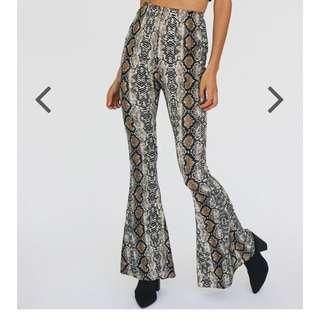 Verge girl snakeskin flair pants