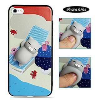 3D Squishies Grey Cat Protective Phone Case for iPhone 6 and 6s, Super Cute Cartoon Squishy Animal Toy Case