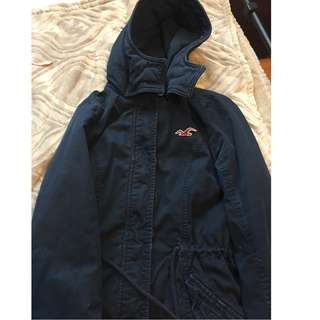 Navy blue hollister winter parka