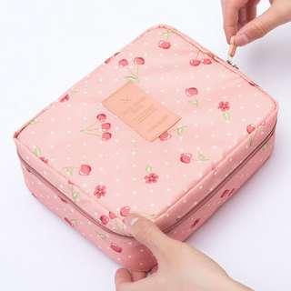 (Cherry/ blue) Portable Women Travel Makeup Toiletry Case Pouch Flower Organizer Cosmetic Bag